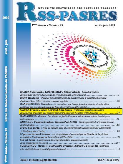 HABITUDES SOCIALES EN MATIERE DE SALUBRITE ET GESTION DES ORDURES MENAGERE SA ZOUAN HOUNIEN (CÔTE D'IVOIRE)